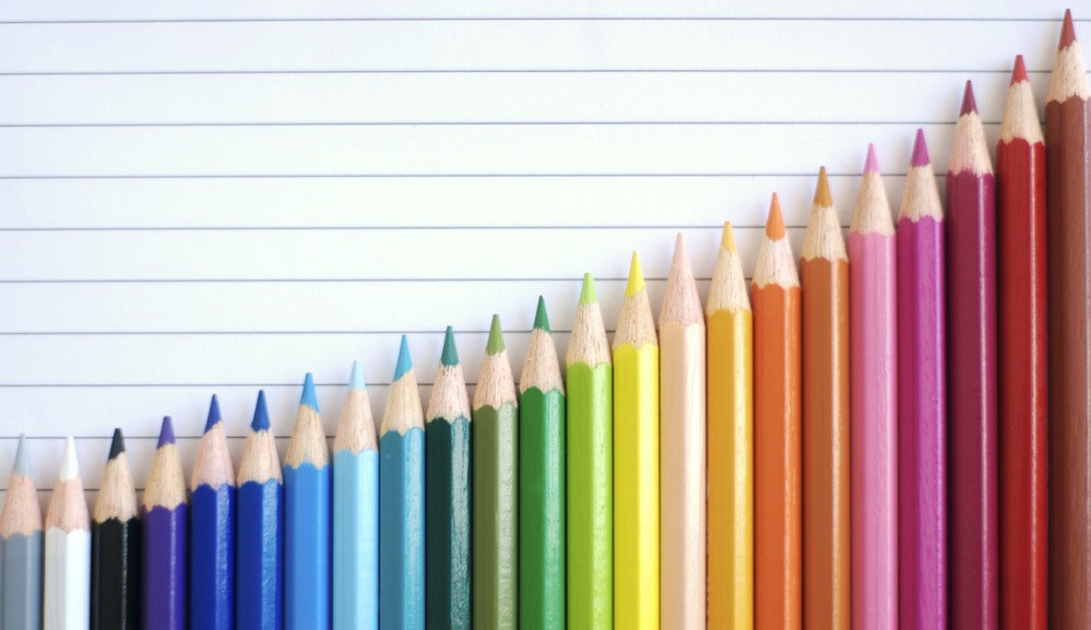 bar chart colored pencils