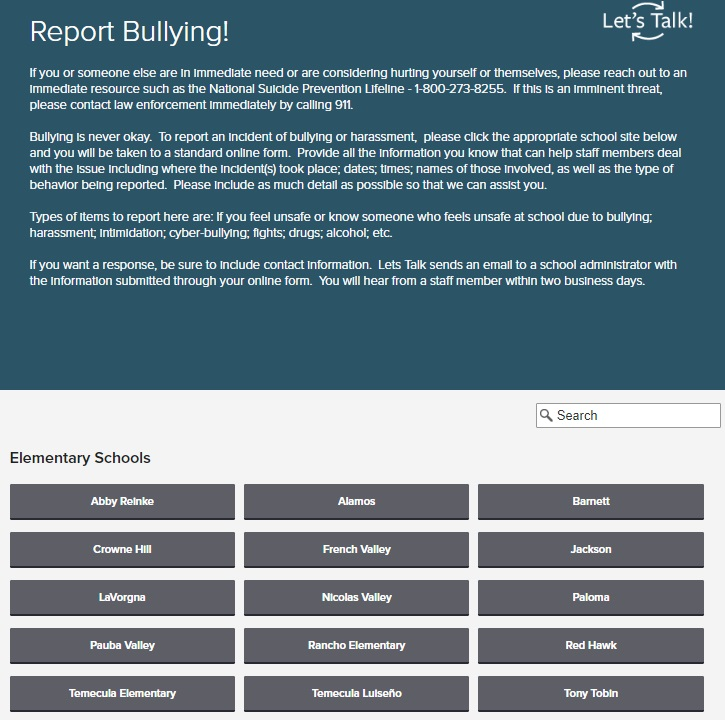 Temecula Valley Report Bullying