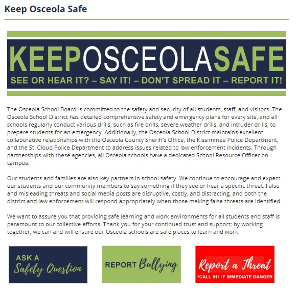 Keep Osceola Safe Homepage