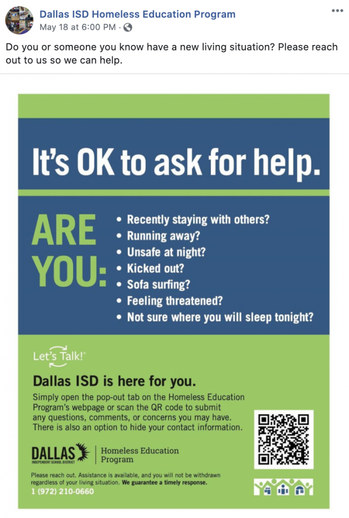 HISD homeless flyer